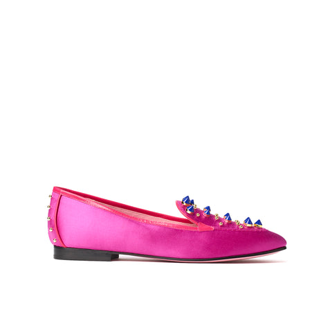 Phare Studded loafer in magenta silk satin with blue and gold studs