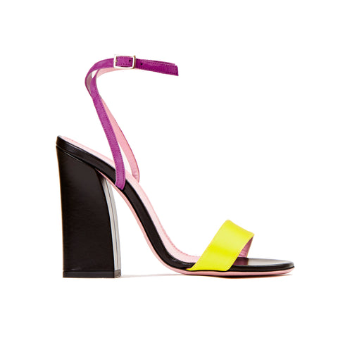Phare Tri colour block heel sandal in multi colour