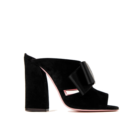 Phare High heel block heel mule with bow in black suede and satin