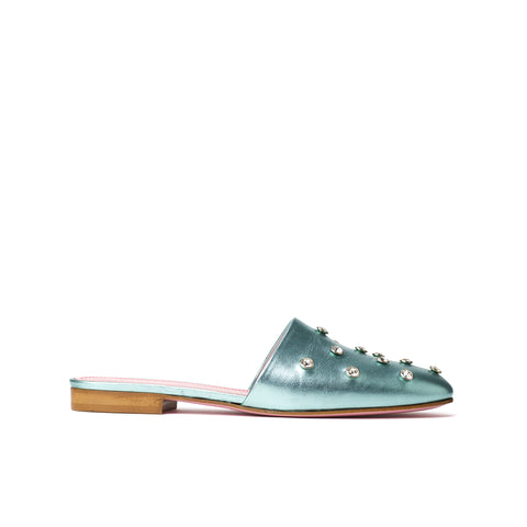 Phare crystal embellsihed slipper in acqua metallic leather