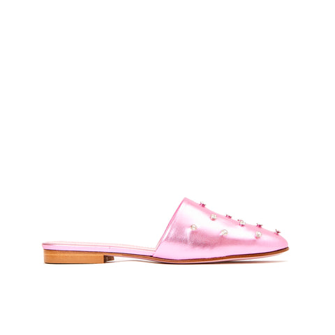 Phare crystal embellished slipper in rosa metallic leather