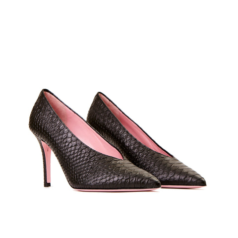 Phare High vamp pump in black embossed snake leather 3/4 view