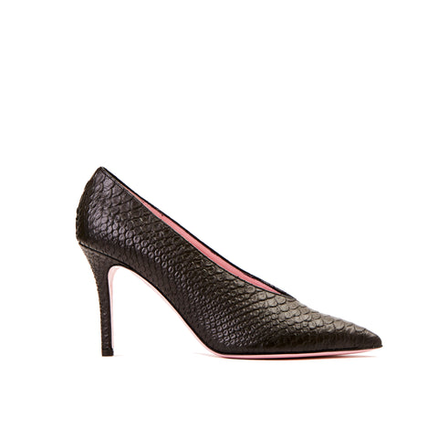 Phare High vamp pump in black embossed snake leather