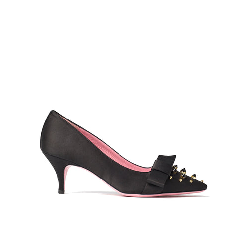 Phare studded kitten heel in black silk satin with black and gold studs