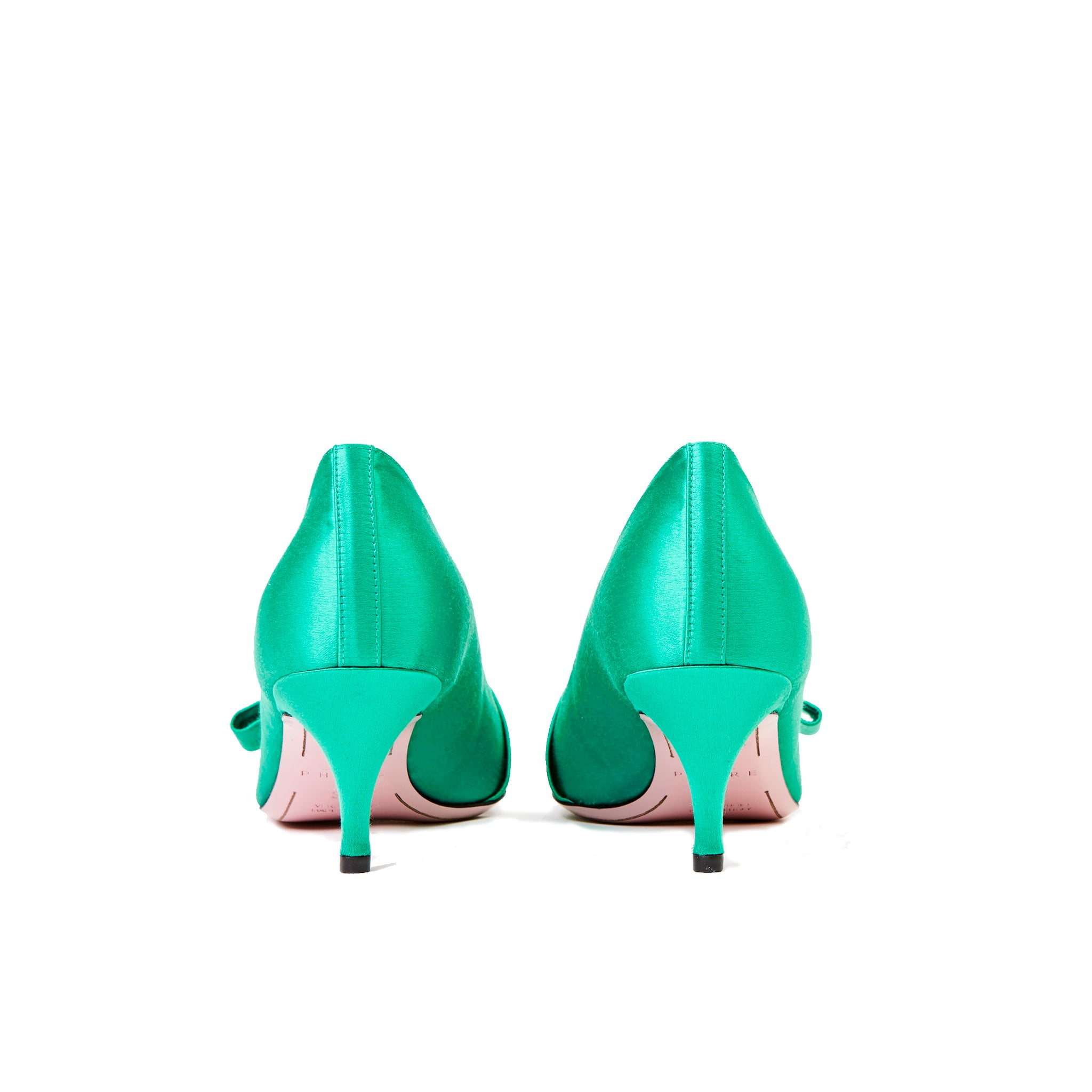 Phare studded kitten heel in verde silk satin with black and gold studs back view