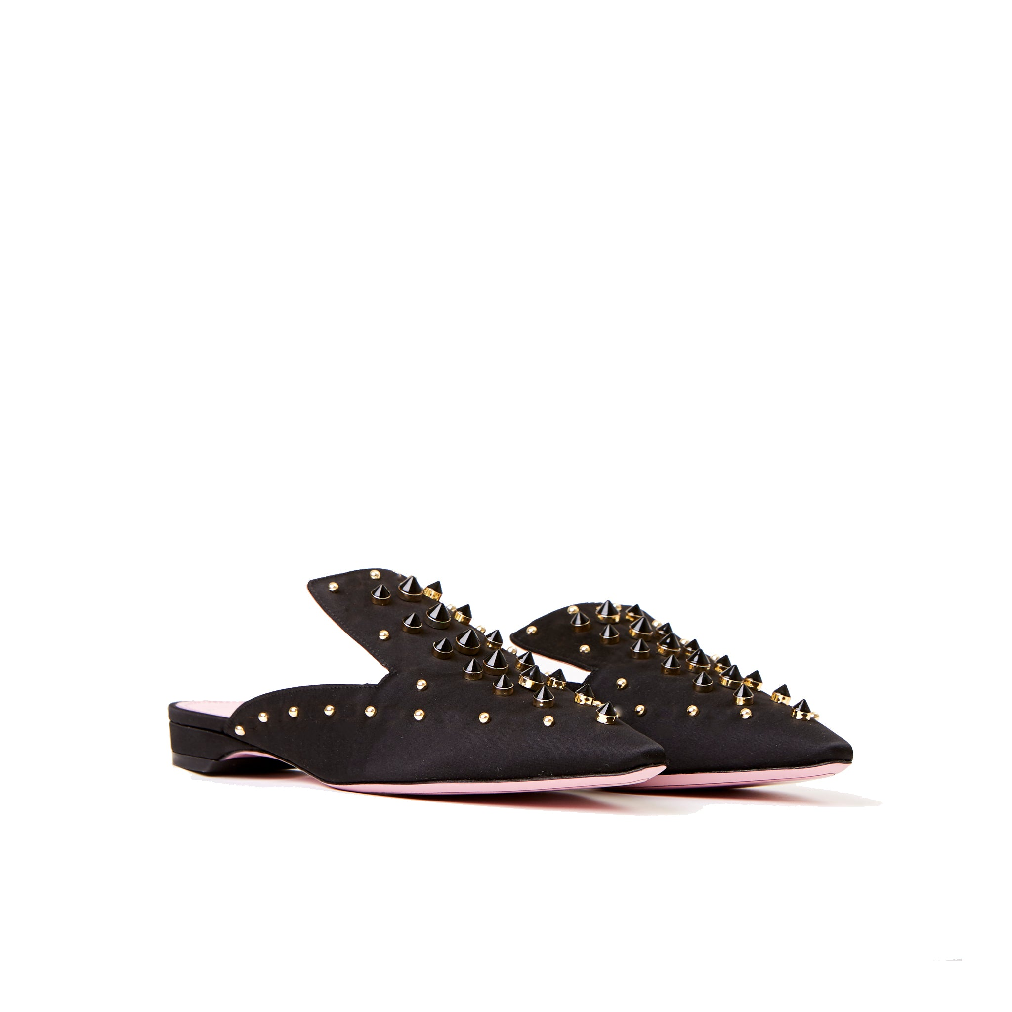 Phare Studded mule in black silk satin with gold and black studs3/4 view
