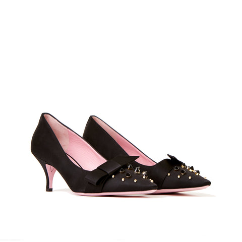 Phare studded kitten heel in black silk satin with black and gold studs 3/4 view