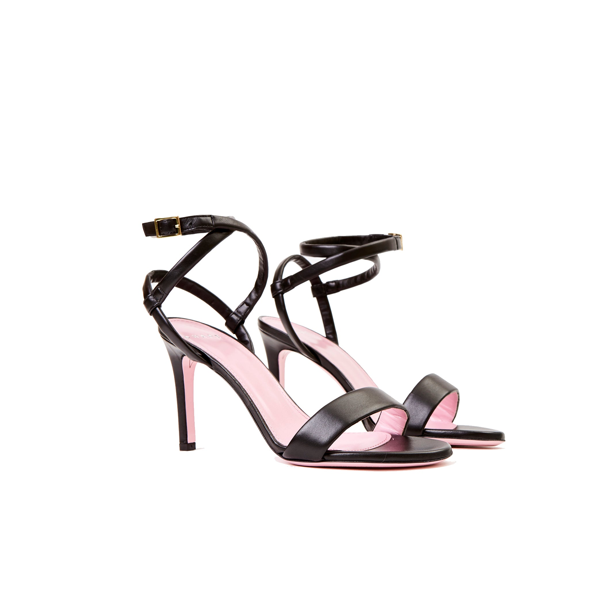 Phare Wrap ankle strap high heel sandal in black leather 3/4 view