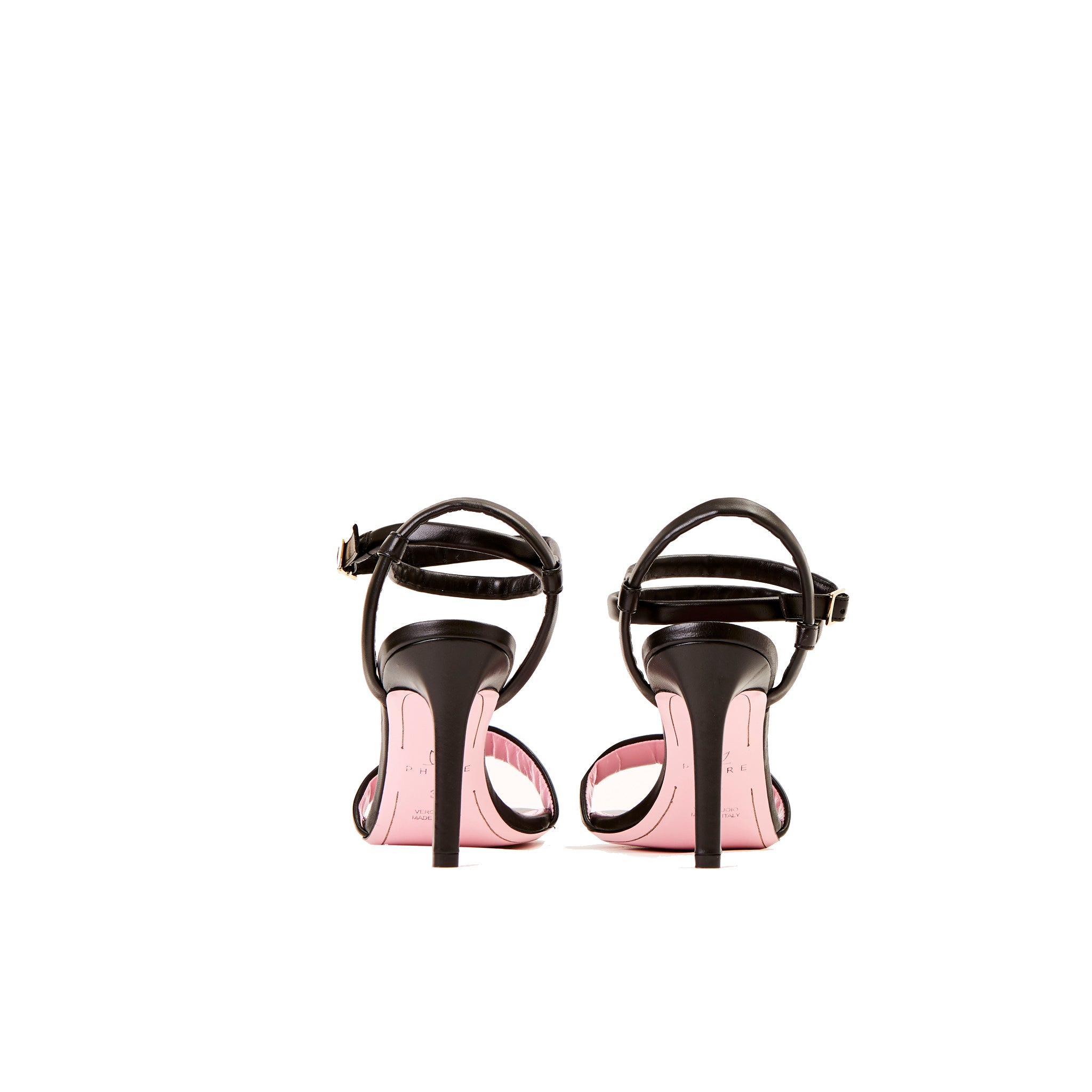 Phare Wrap ankle strap high heel sandal in black leather back view