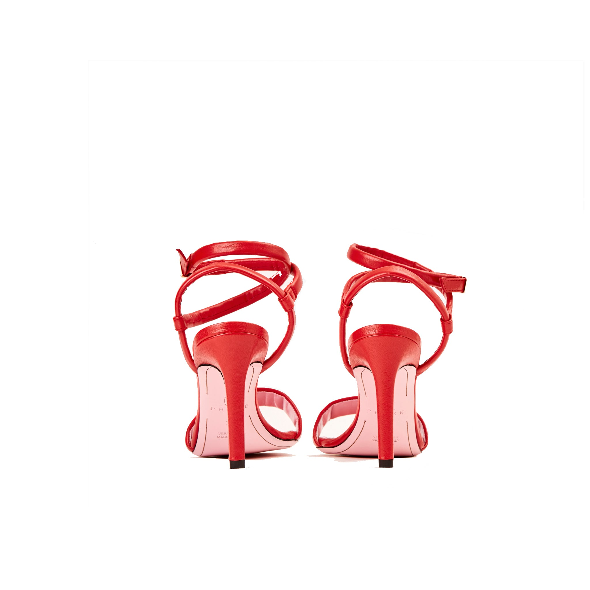 Phare Wrap ankle strap high heel sandal in red leather back view