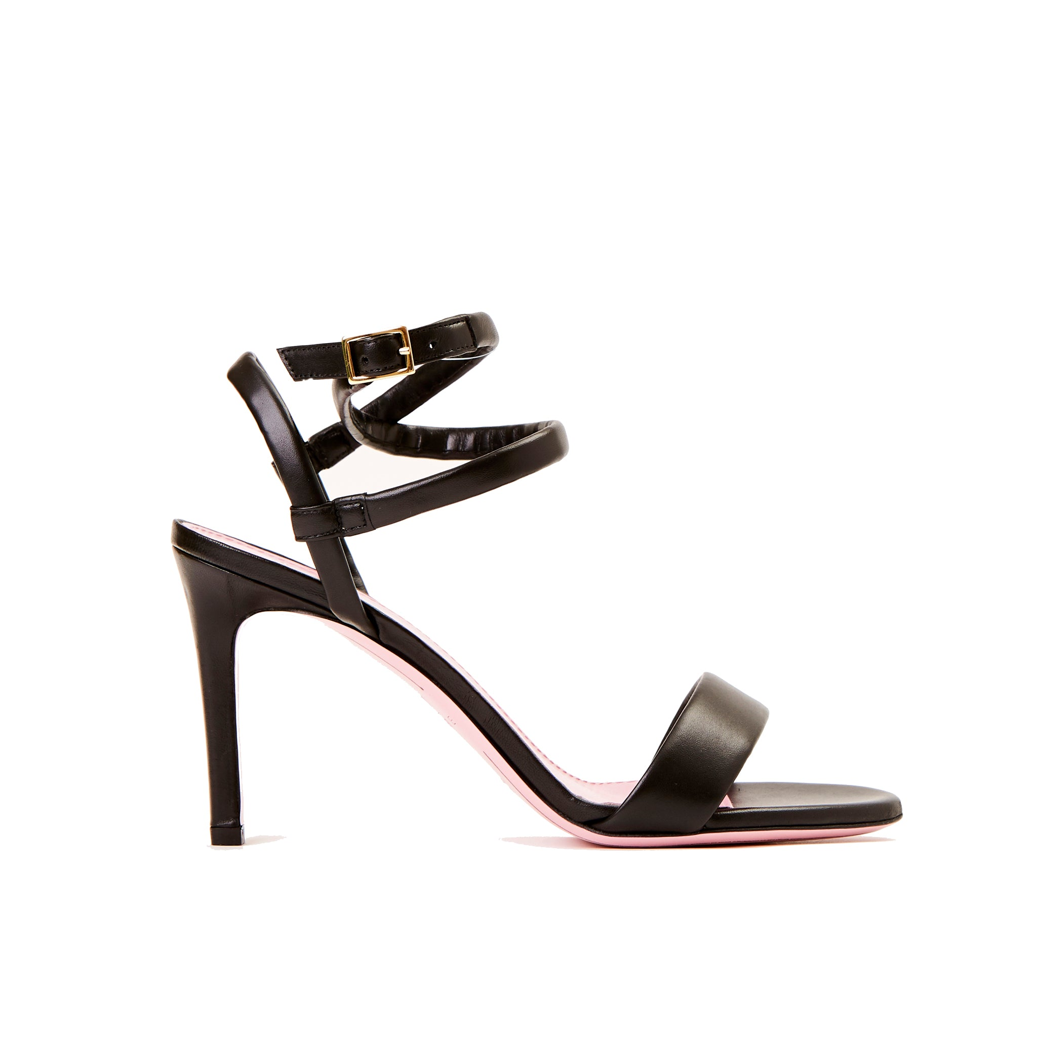 Phare Wrap ankle strap high heel sandal in black leather