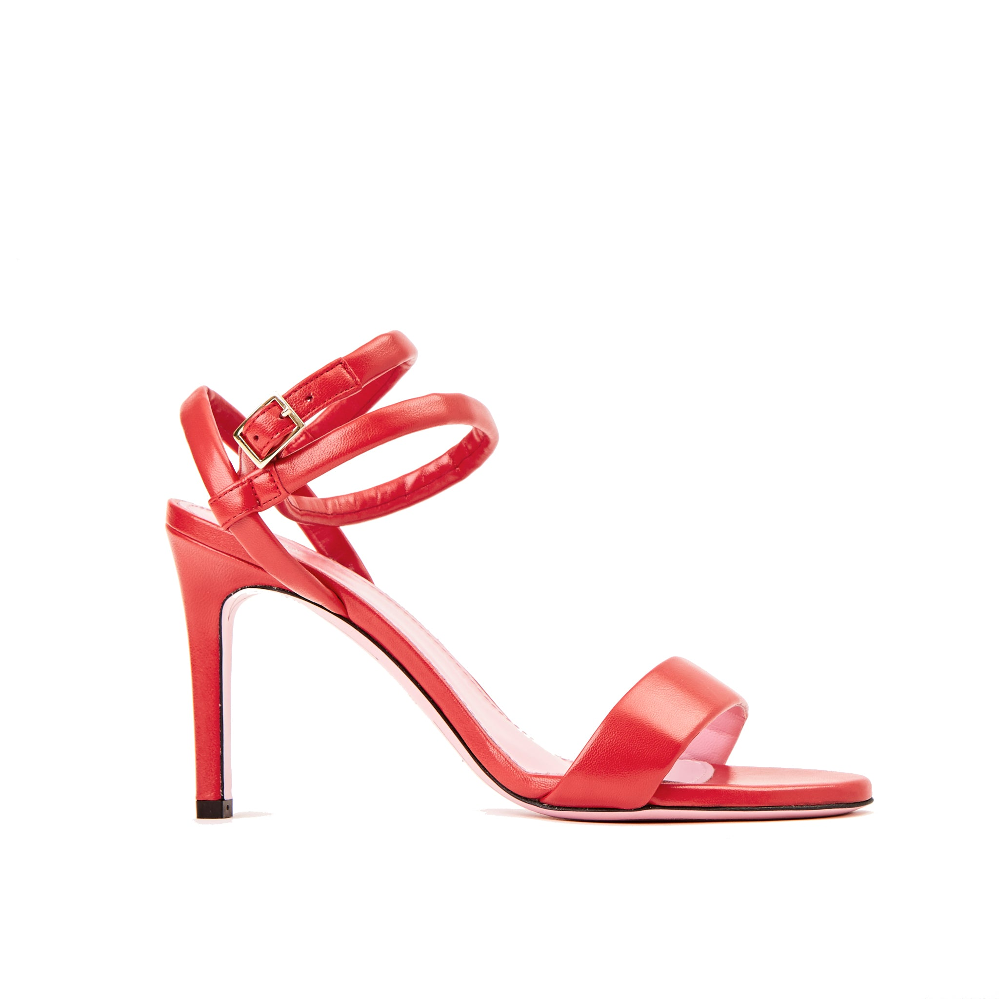 Phare Wrap ankle strap high heel sandal in red leather