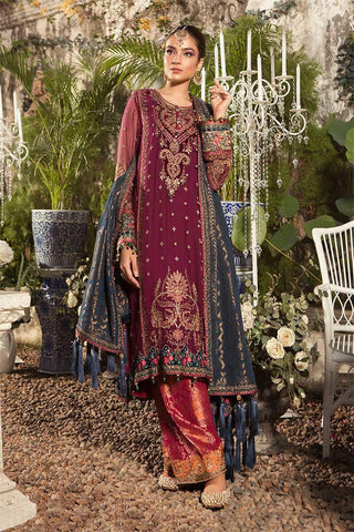Maria B Unstitched MBROIDERED - Deep Magenta and Teal (BD-1605)