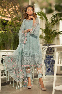 Maria B Unstitched MBROIDERED - Powder Blue (BD-1607)
