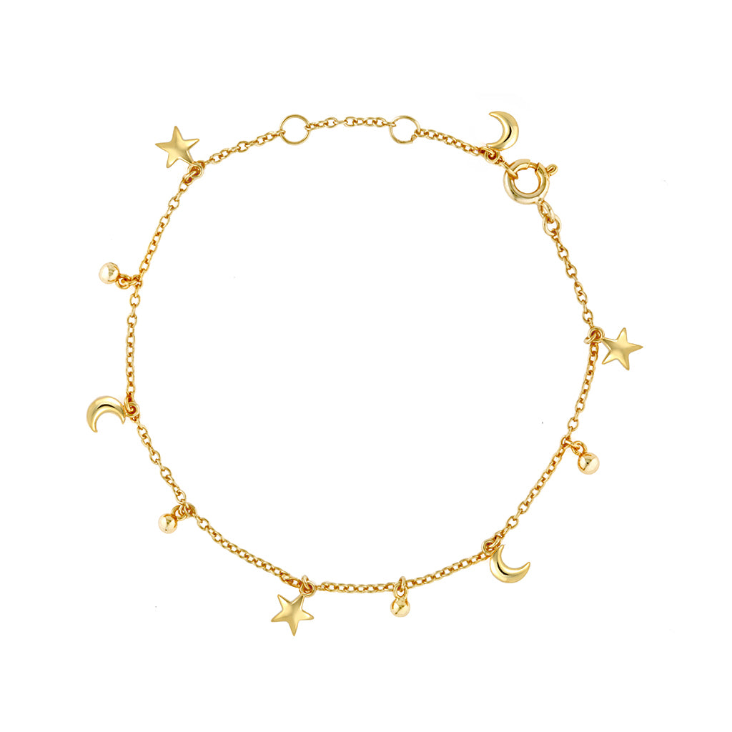 Star moon gold bracelet, adjustable length, fine chain and beautiful crescent moon charm on the back clasp