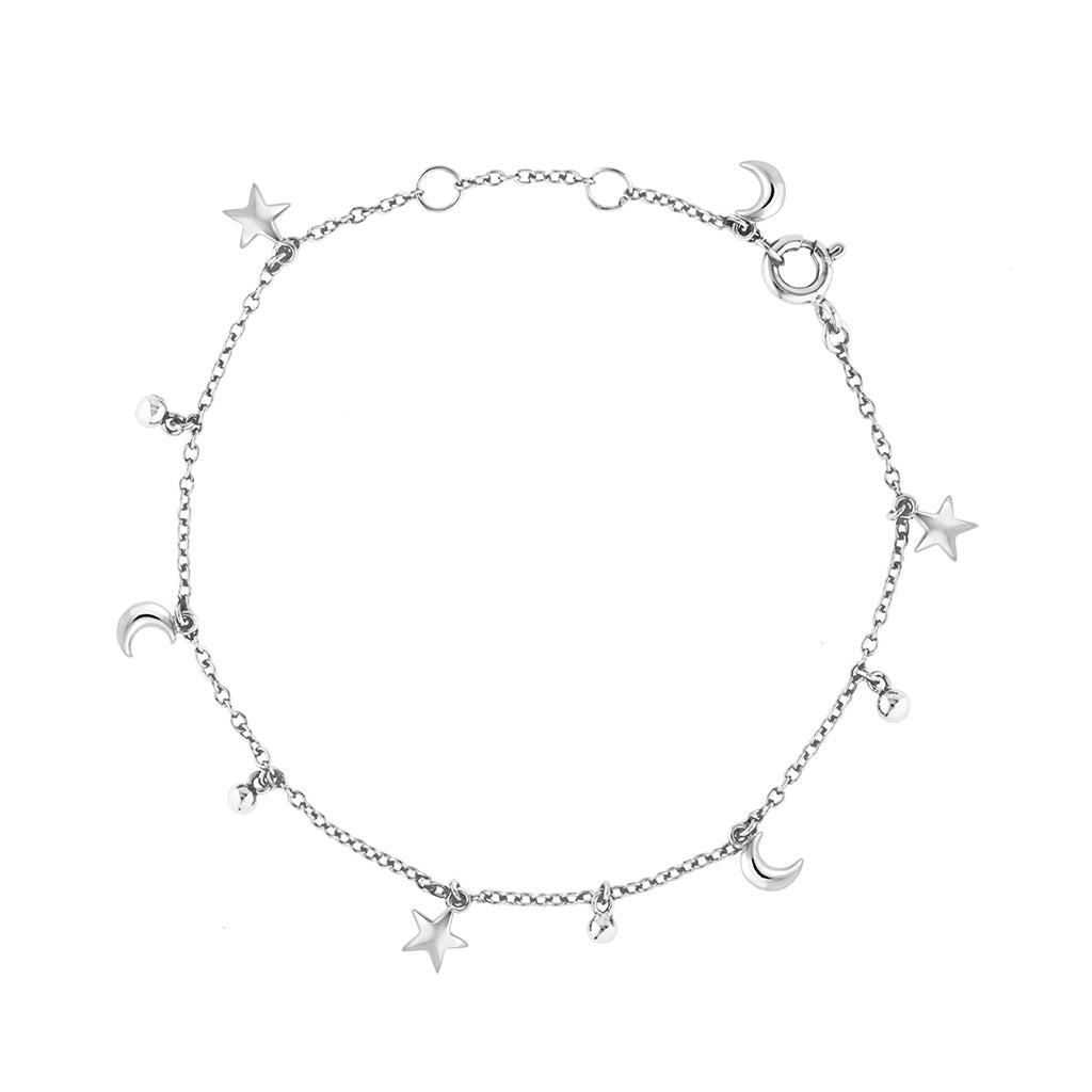 Silver star moon fine bracelet with small charms in a beautiful modern design. womens jewellery that is affordable and great for gifts for christmas, valentine, birthday