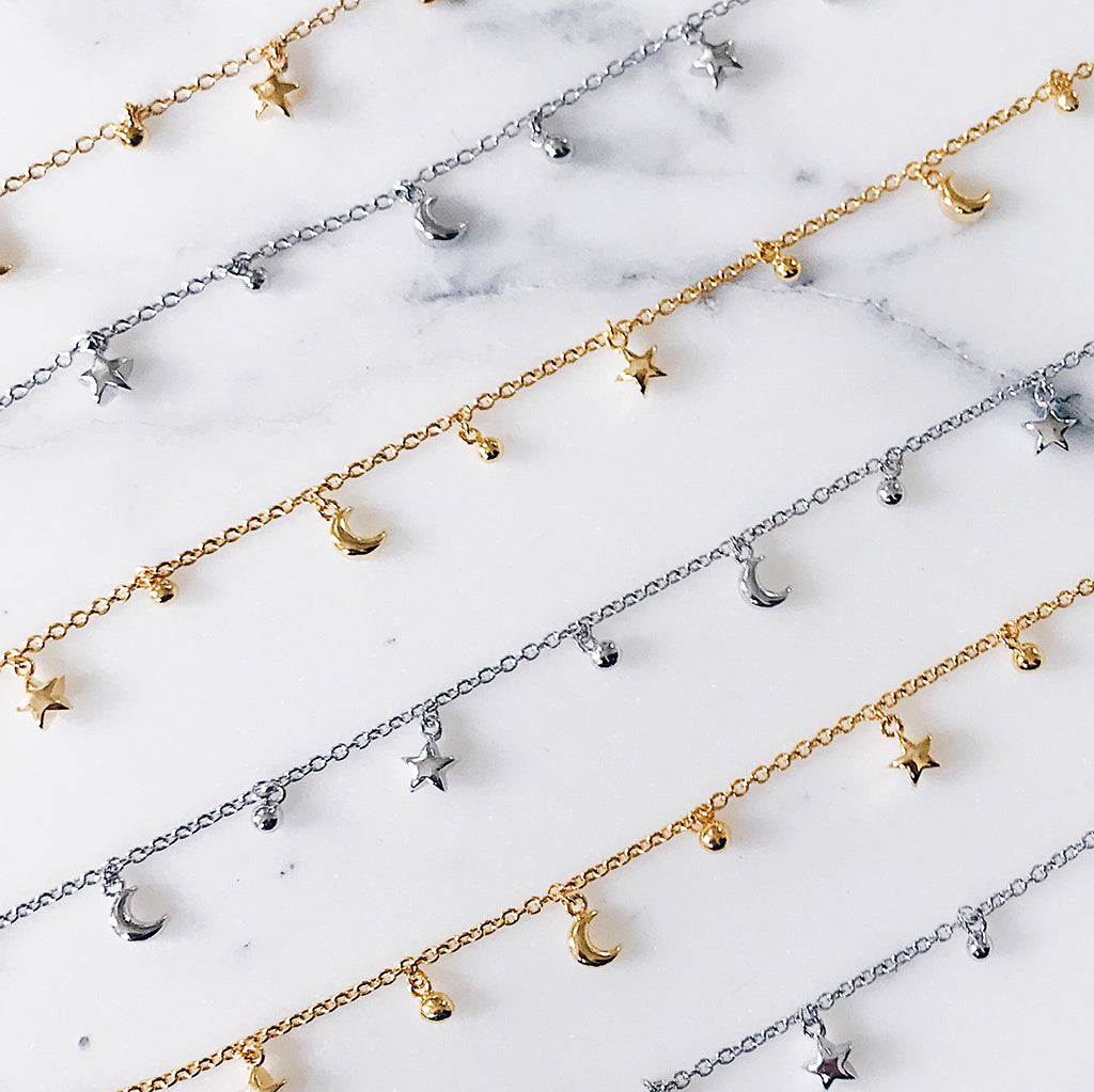 Star moon fine charm bracelets in gold and silver with tiny beads, perfect for layering. Affordable fine jewellery. star moon silver gold charm bracelets are great as gifts for best friend, sister, mother, lover, girlfriend.