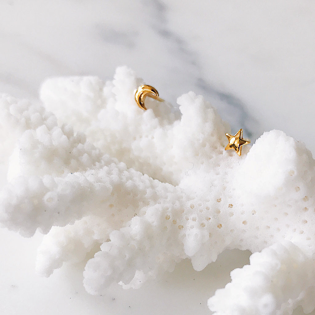 star moon small ear studs gold