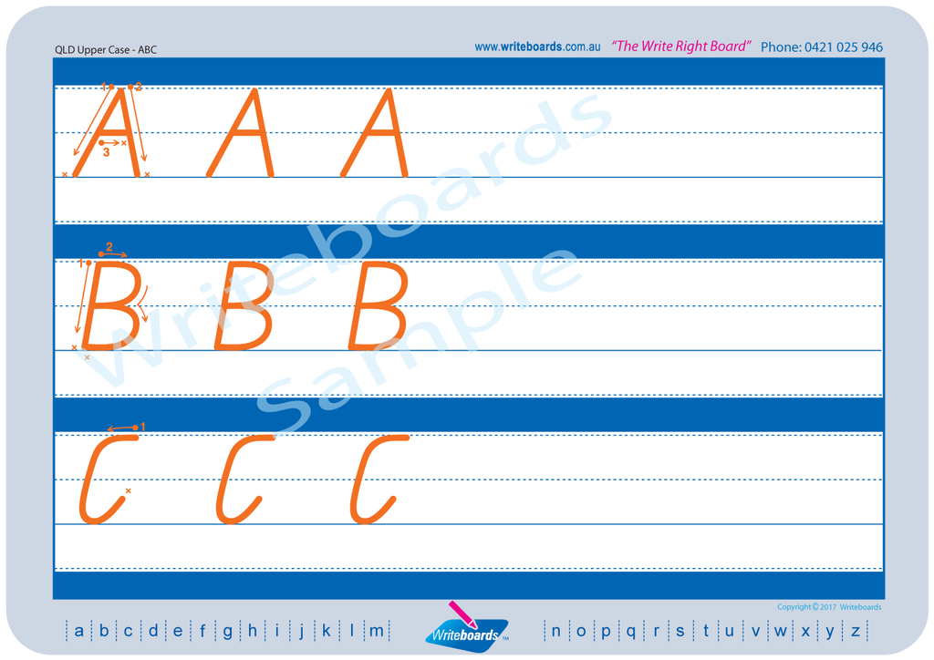 QLD Modern Cursive Font alphabet worksheets. Family letter tracing worksheets for QLD handwriting. QCursive.