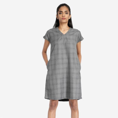 Grey Box Pleated Plaid Dress