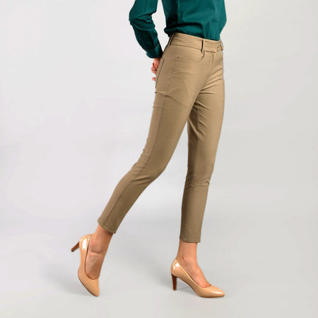 Sand Brown Slim Fit Cropped Trousers