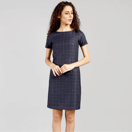 Navy Blue Checkered Short Sleeve Dress