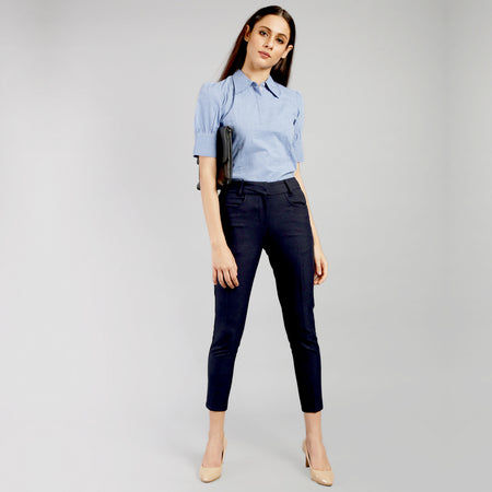 Oxford Blue Checkered Slim Fit Cropped Trousers