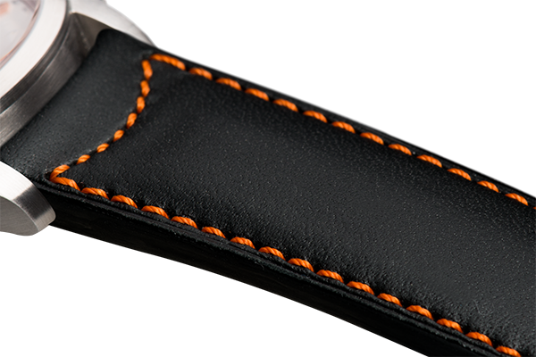 Classic Black Calfskin Orange