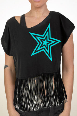 Pauly D Womens Black Crop Tee with Teal Star with Cuts