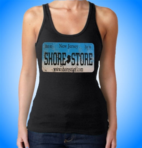 Shore Store License Plate Aqua-Distressed   Women's Tank Top