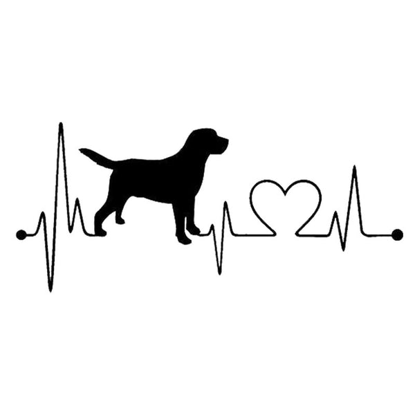 Labrador Retriever Heartbeat Car Sticker