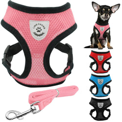 Soft Breathable Small Dog Harness and Leash Set