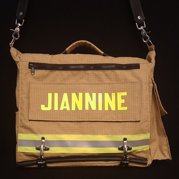 Laptop bag in tan bunker gear with name panel