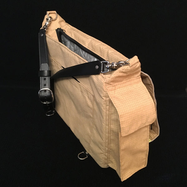 Laptop bag in tan bunker gear radio pocket