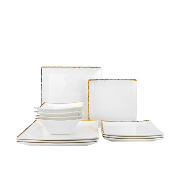 Dinner Set Silver/Gold Relief