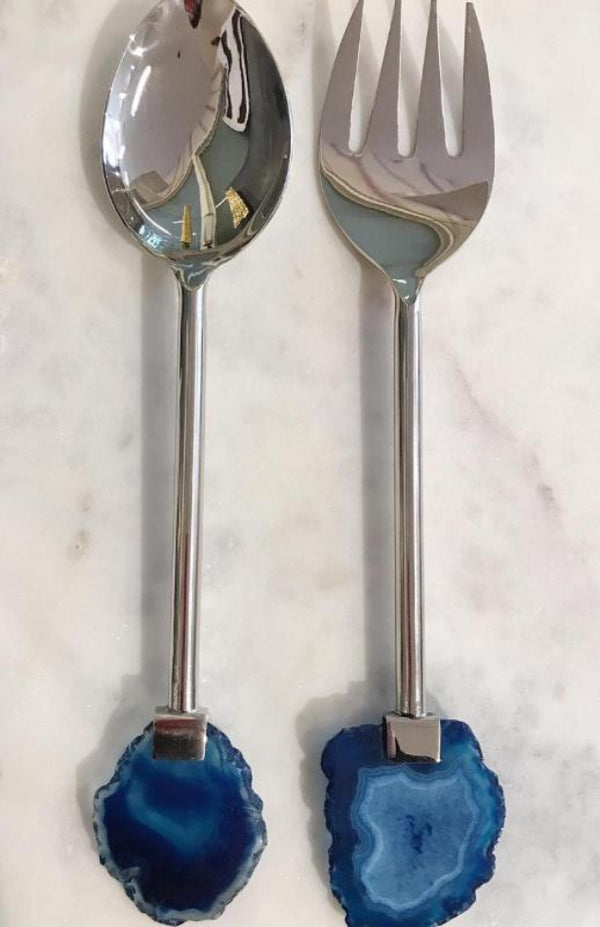 Agate Salad Servers Blue