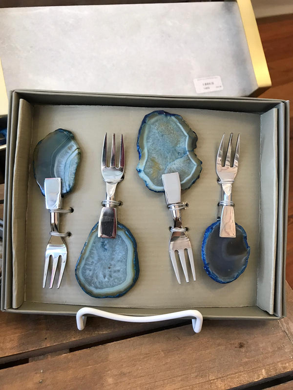 SET/4 AGATE COCKTAIL FORKS,BLUE