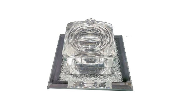 Crystal Salt Holder With Cover Square 2.25""