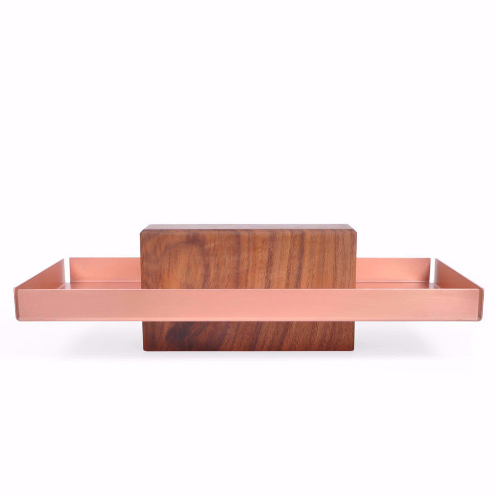 Pedestal Tray, Copper, Walnut, Catch-all