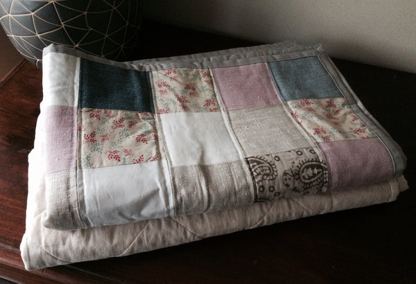 Handmade Baby Cot Quilt/Blanket with French Linen and Cotton