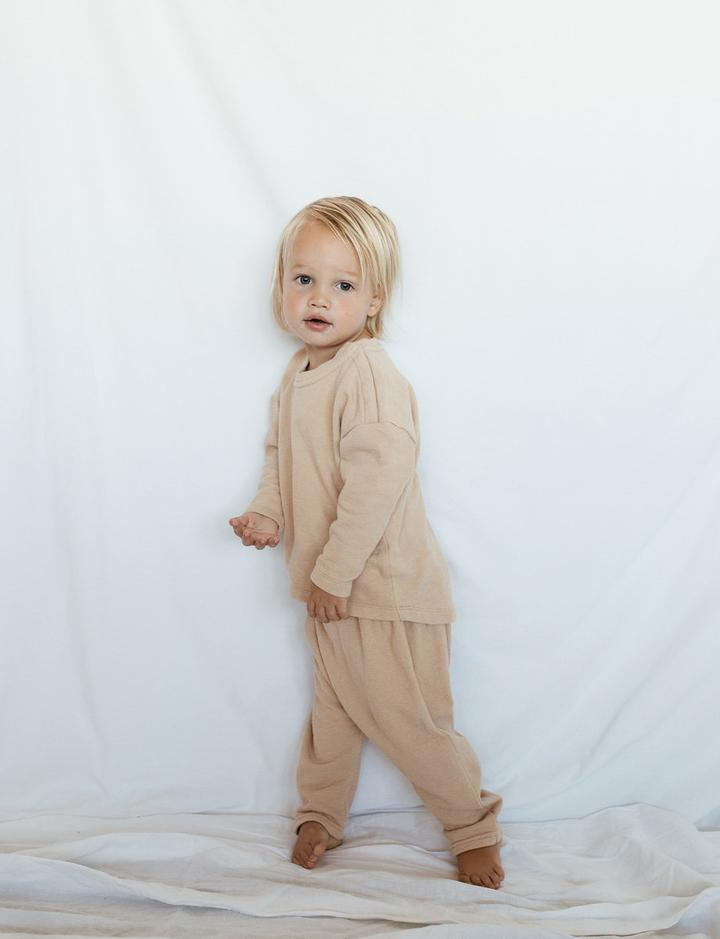 Cotton 'Seth' Drop Crutch Pants in Sand