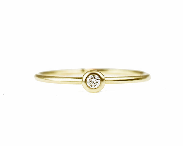 14k solid gold Petite Diamond stacking ring