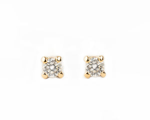 14k solid gold Petite Diamond Stud Earrings