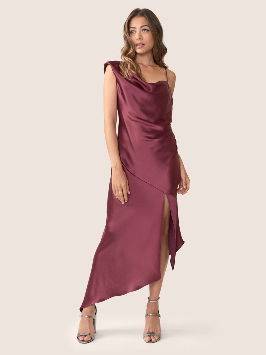 Bordeaux satin asymmetrical gown with asymmetrical hemline and front slit