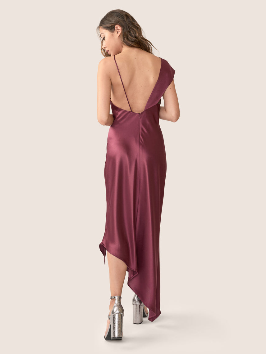 Bordeaux satin asymmetrical gown with asymmetrical hemline and front slit Alternate