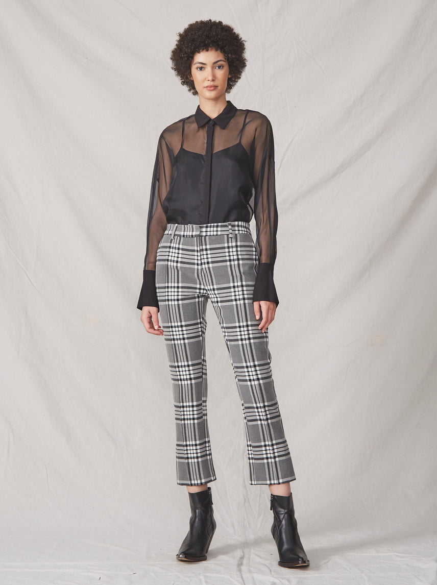 Gray plaid cropped pant with a split hem