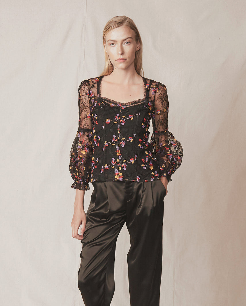 Floral embroidered sheer lace blouse with puff sleeves and optional camisole liner