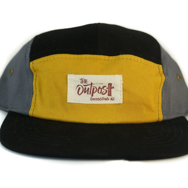 FivePanel Cap-ACCESSORIES / HATS-Long Ma Lae (THA)-Black Yellow-The Outpost NZ