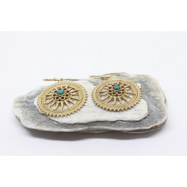 Maeve Brass Earrings-JEWELLERY / EARRINGS-Gopal Brass Man (IND)-Howlite-The Outpost NZ