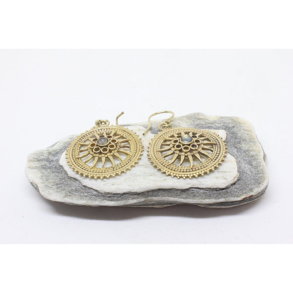 Maeve Brass Earrings-JEWELLERY / EARRINGS-Gopal Brass Man (IND)-Labradroite-The Outpost NZ